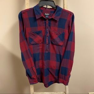 Lucky brand red and navy plaid flannel button down